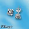 Oбици с камъни от сребро - Сребърни Детски обици - 120233