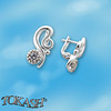 Silver earrings with CZ - 114053