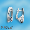 Silver earrings with CZ - 114131